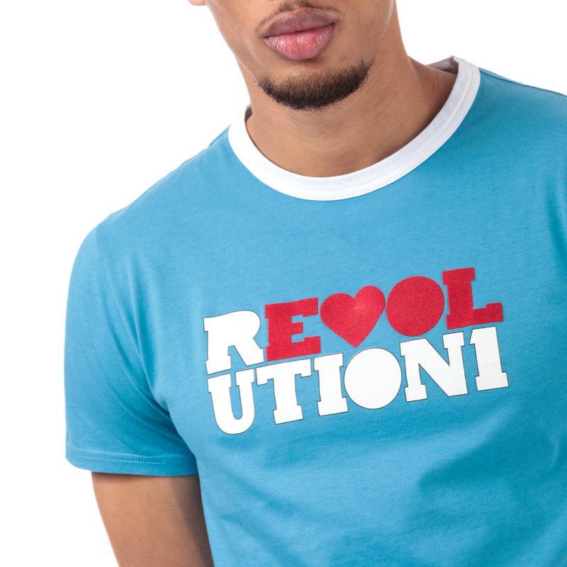 Tričko Pretty Green Mens Beatles Revolution Print T-Shirt Blue