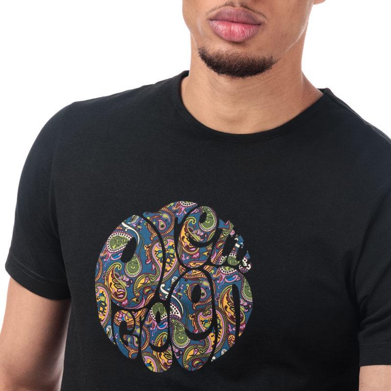 Tričko Pretty Green Mens Paisley Print Logo T-Shirt Black