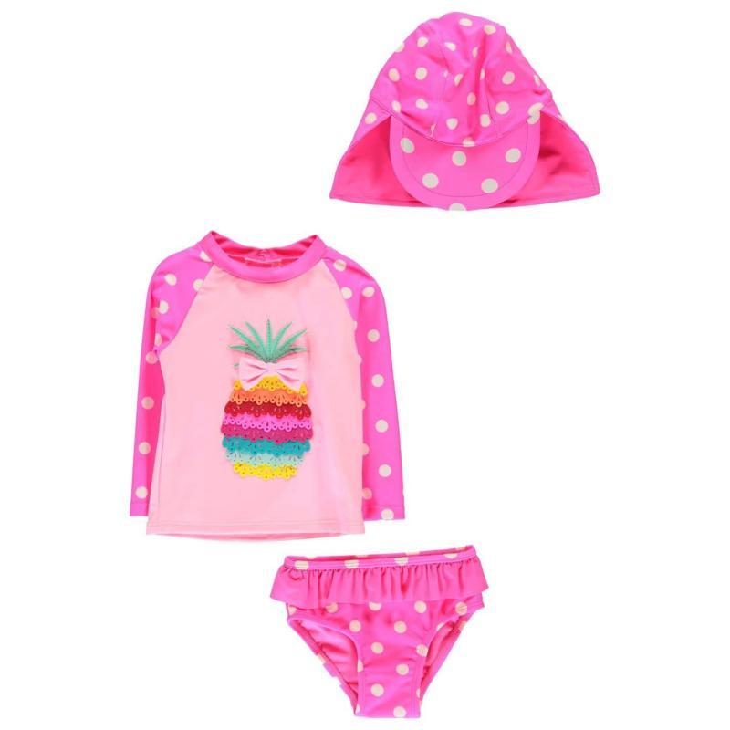 Crafted Mini 3 Piece Swimsuit Baby Girls Aqua Ice Cream