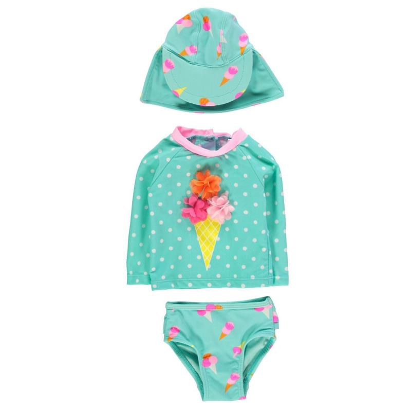 Crafted Mini 3 Piece Swimsuit Baby Girls Aqua Ice Cream