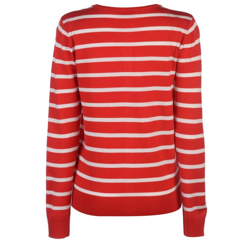Svetr Miso Stripe Button Cardigan Ladies Red