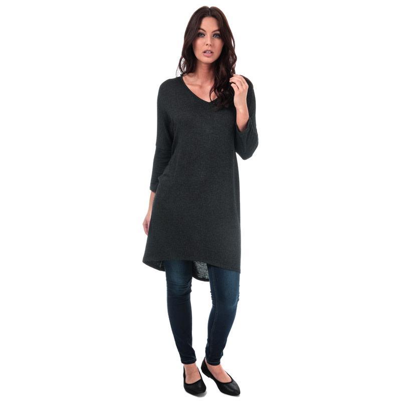 Vero Moda Womens Paya V-Neck Longline Jersey Top Black