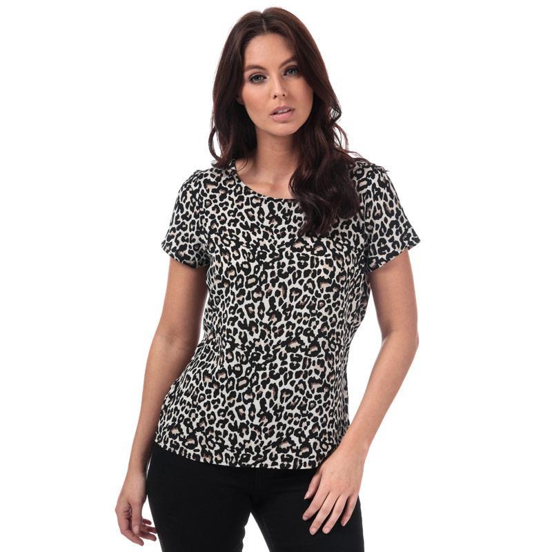 Vero Moda Womens Saga Leopard Print Top Oatmeal