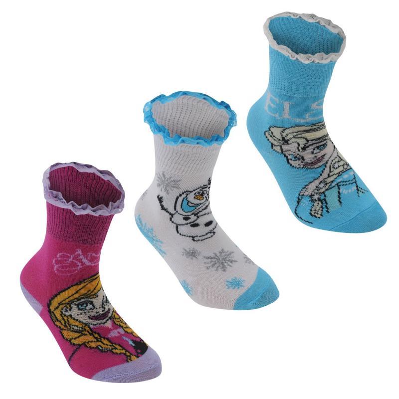 Disney 3 Pack Crew Socks Childrens Frozen