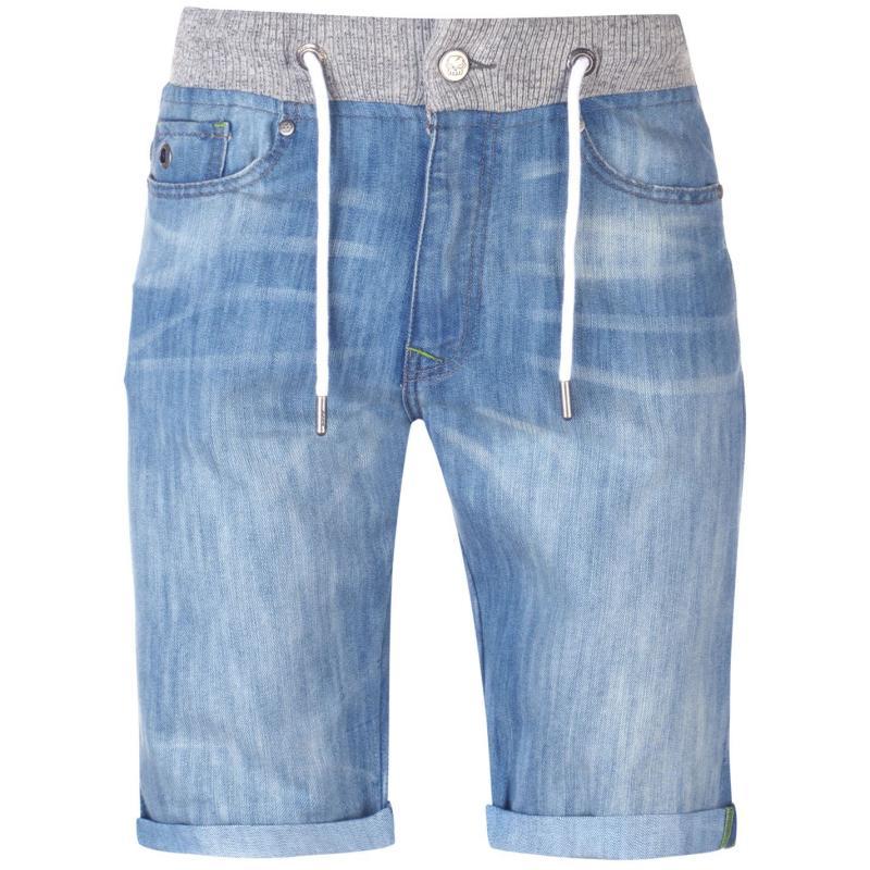 No Fear Rib Waist Denim Shorts Mens Bleached Wash
