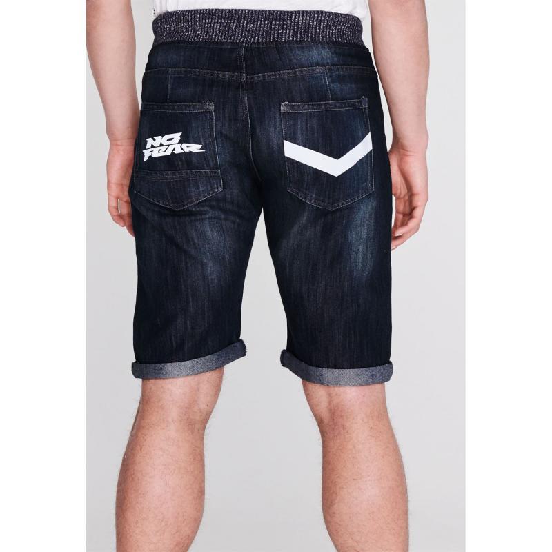 No Fear Rib Waist Denim Shorts Mens Dark Wash