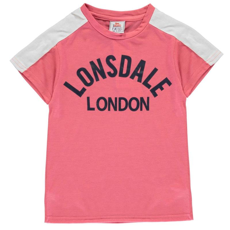 Lonsdale Crew T Shirt Junior Girls Pink