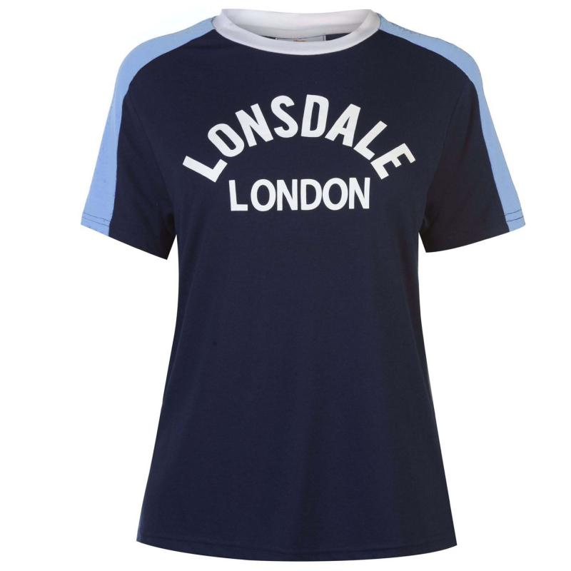Lonsdale Long Line Crew T Shirt Ladies Navy