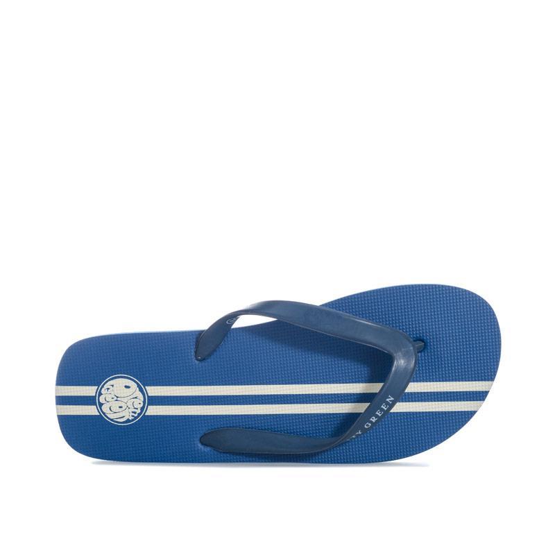 Mens Retro Pretty Green Stripe Flip Flops Blue