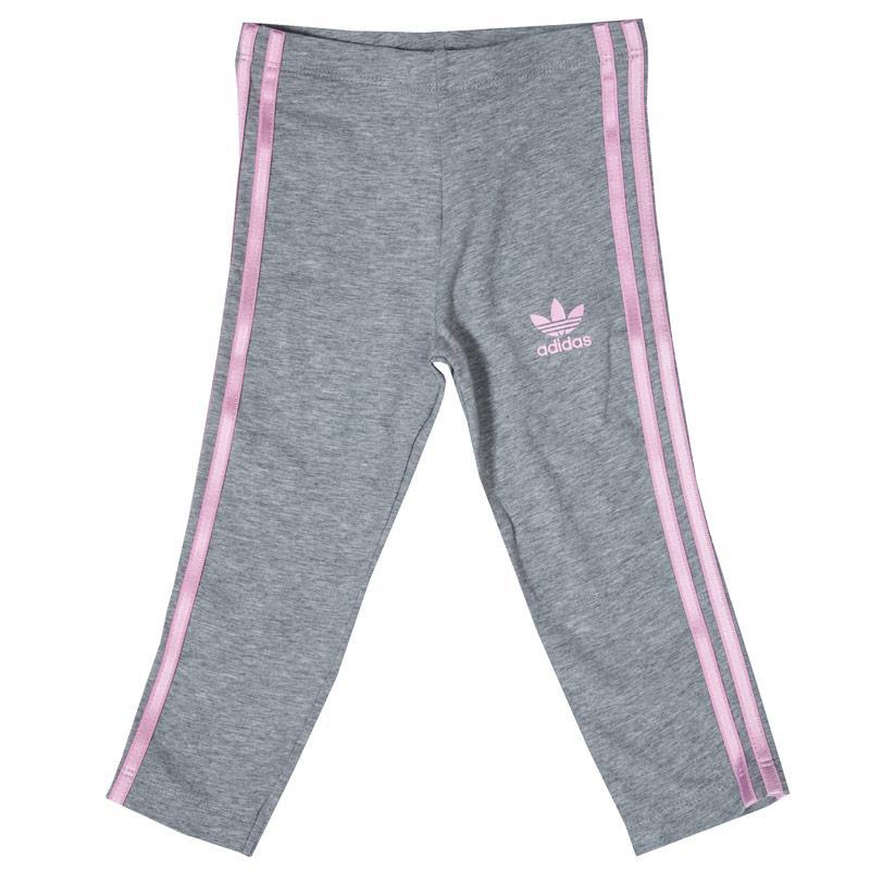 Adidas Originals Infant Girls 3 Stripe Leggings Grey Heather
