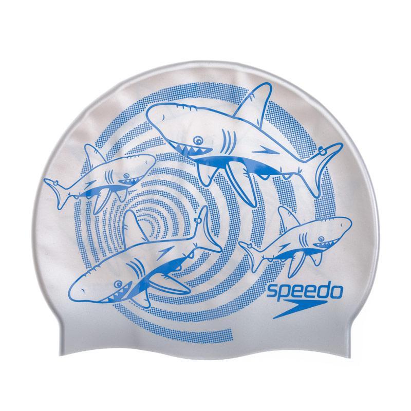 Speedo Junior Shark Slogan Swim Cap Silver blue