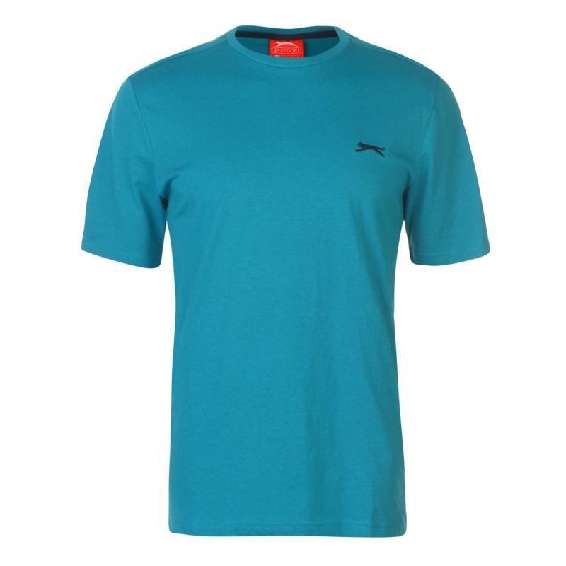 Tričko Slazenger Plain T Shirt Mens Teal Blue