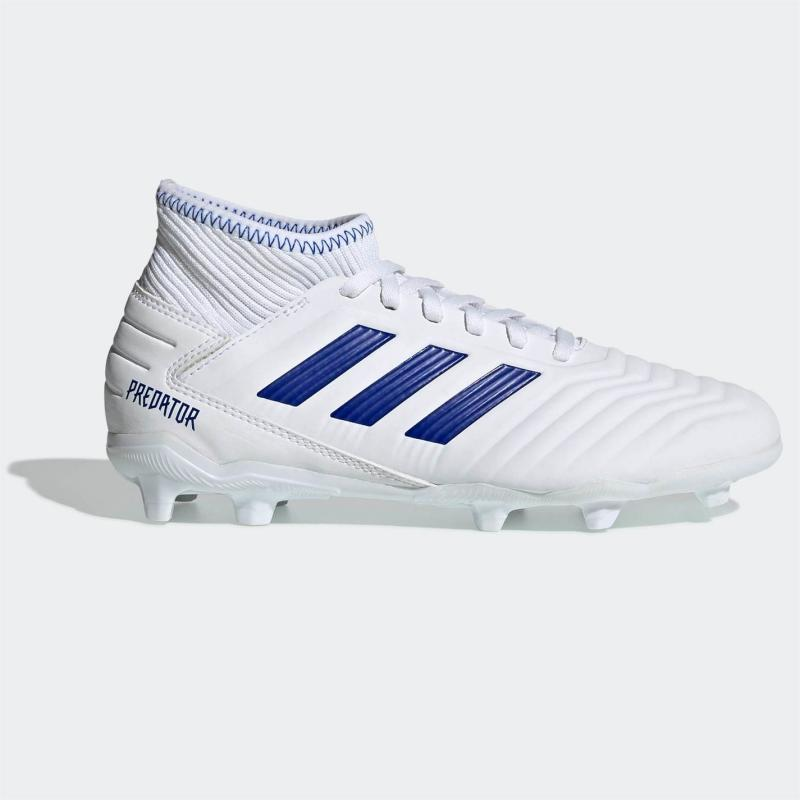 Adidas Predator 19.3 Junior FG Football Boots Boys White/BoldBlue