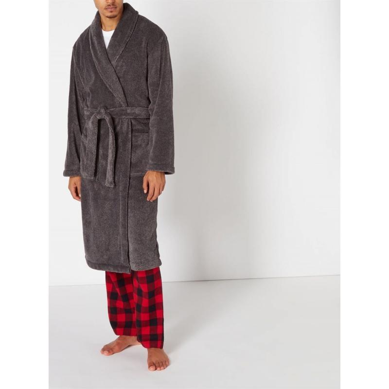 Pyžamo Howick Classic Charcoal Marl Fleece Dressing Gown