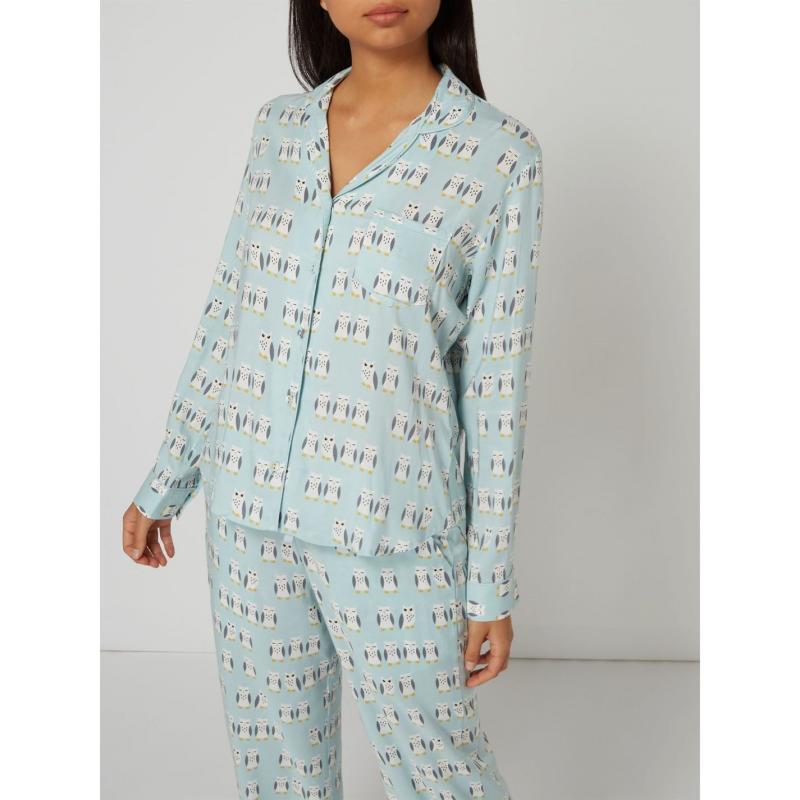 Pyžama Maison de Nimes Hoot aop woven long sleeve top