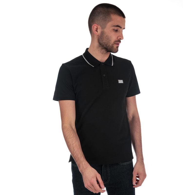 C.P. Company Mens Basic Tipped Short Sleeve Polo Shirt Black