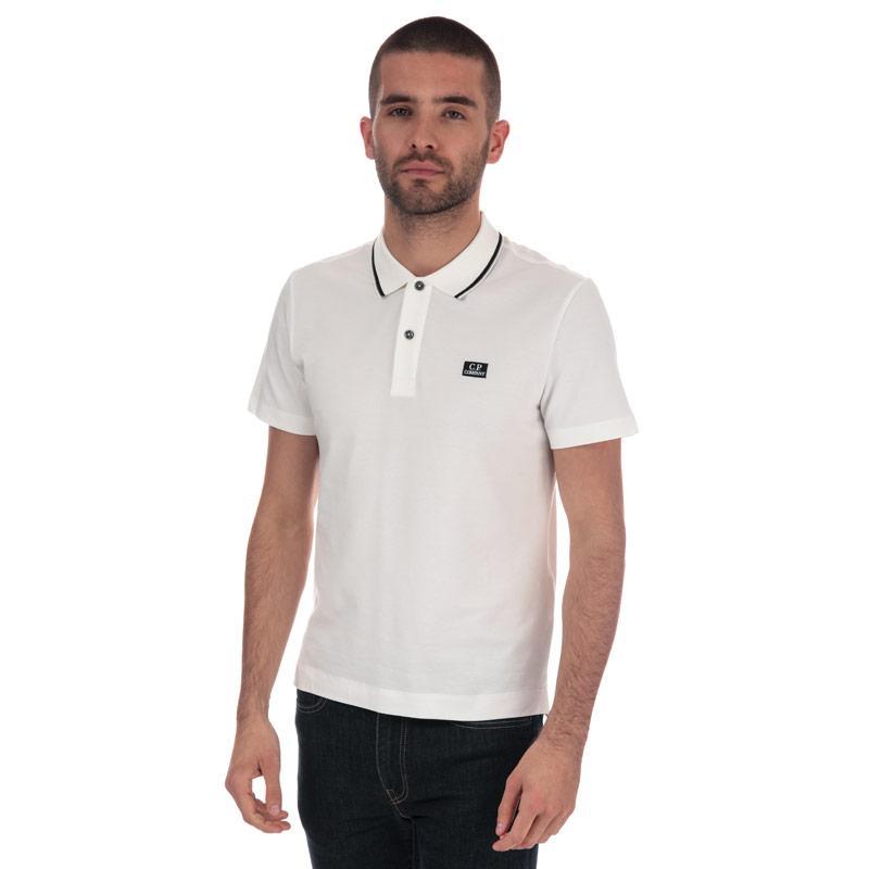 C.P. Company Mens Basic Tipped Short Sleeve Polo Shirt White