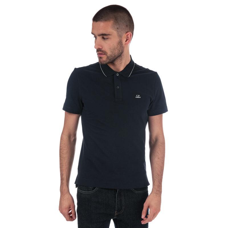 C.P. Company Mens Basic Tipped Short Sleeve Polo Shirt Navy