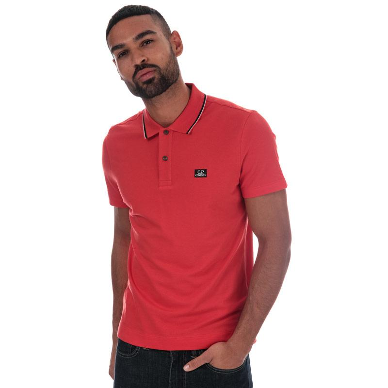 C.P. Company Mens Basic Tipped Short Sleeve Polo Shirt Red