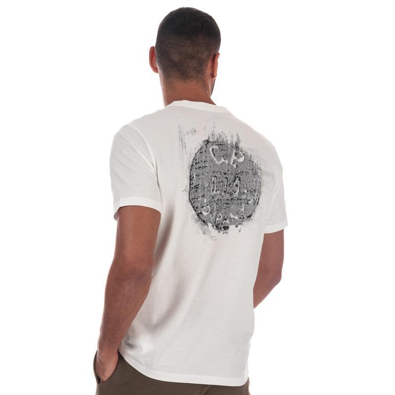 Tričko C.P. Company Mens Jersey Button Print T-Shirt White