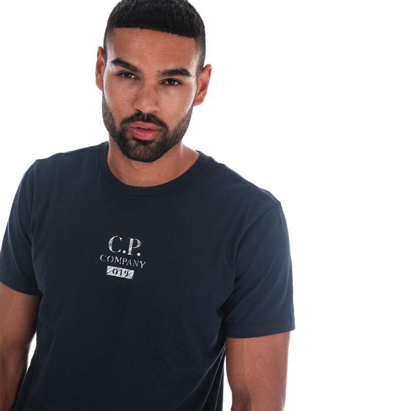 Tričko C.P. Company Mens Jersey Button Print T-Shirt Navy