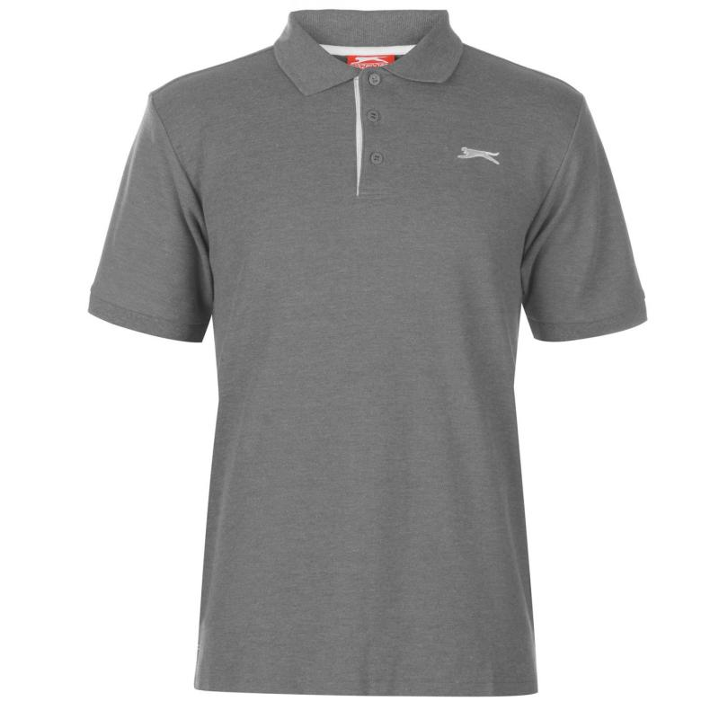 Slazenger Plain Polo Shirt Mens Charcoal Marl