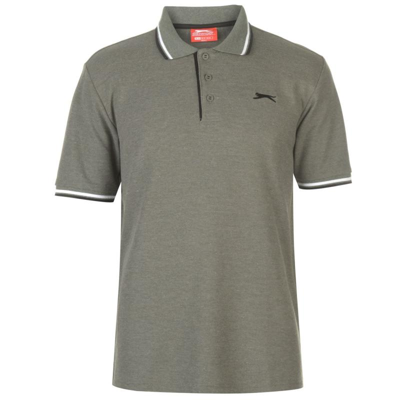 Slazenger Tipped Polo Shirt Mens Khaki Marl
