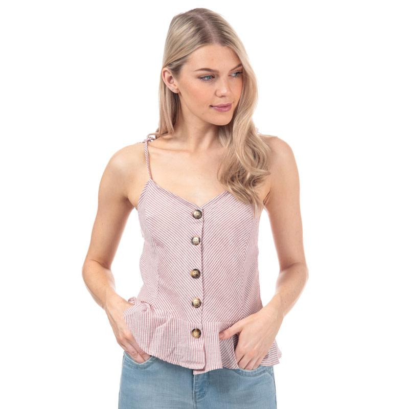 Brave Soul Womens Button Through Cami Top Red