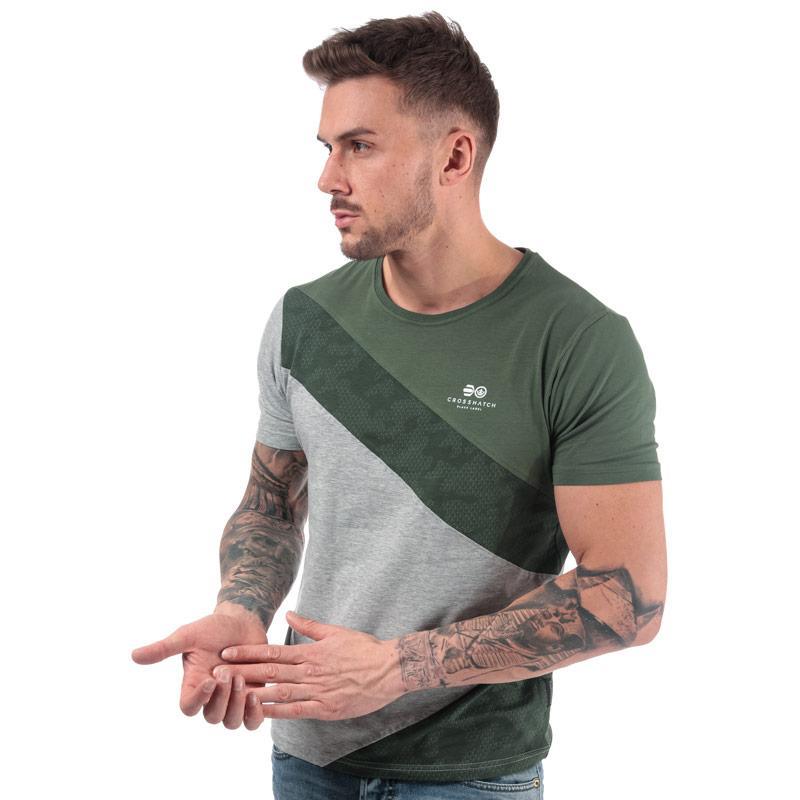 Tričko Crosshatch Black Label Mens Maybank Cut Sewn T-Shirt Green