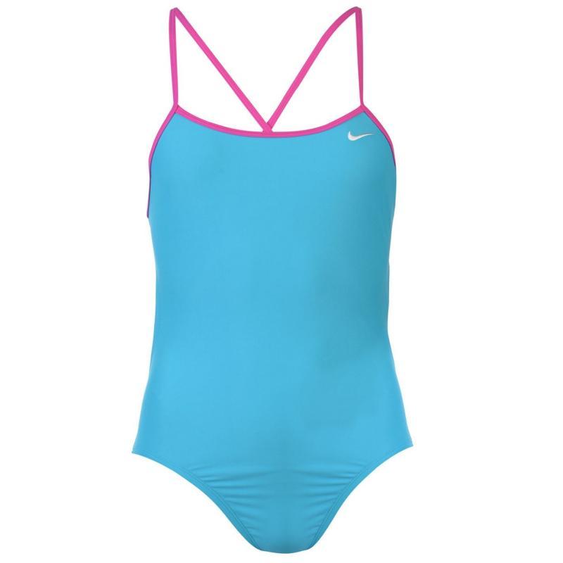 Plavky Nike Solid One Piece Swimsuit Ladies Lt Blue Fury