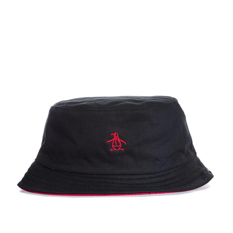 Original Penguin Mens Switch Bucket Hat Black Red