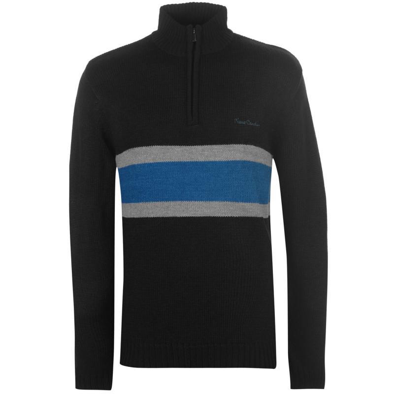 Pierre Cardin Quarter Zip Striped Knit Mens Black