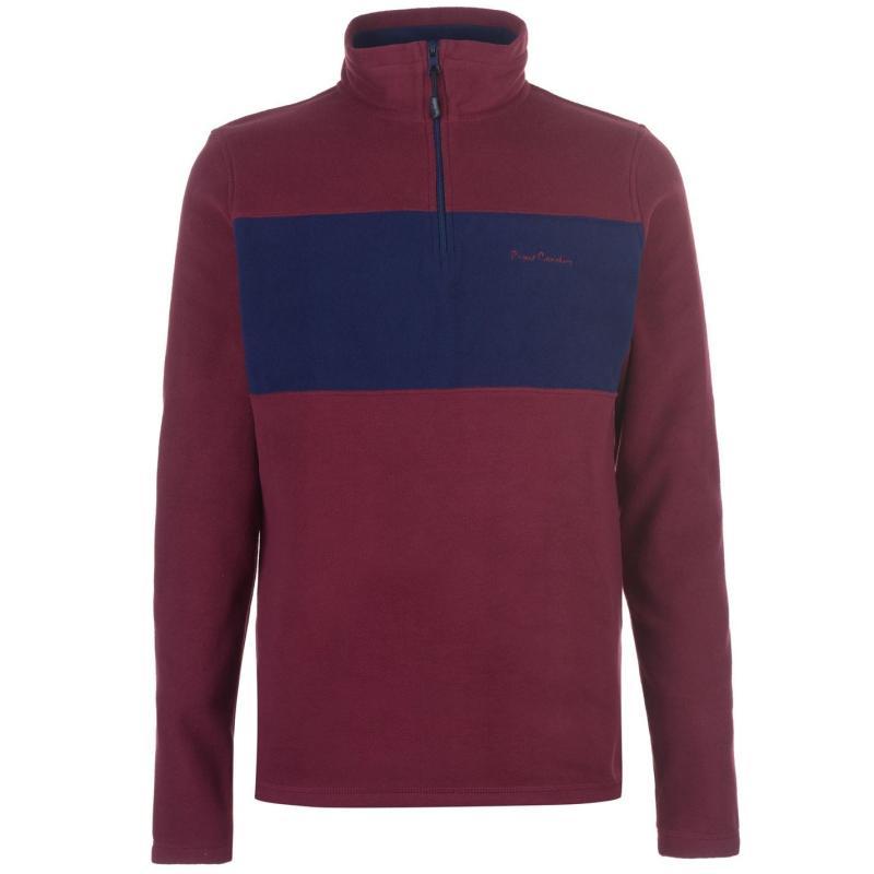 Mikina Pierre Cardin Quarter Zip Two Colour Fleece Mens Burgundy/Navy