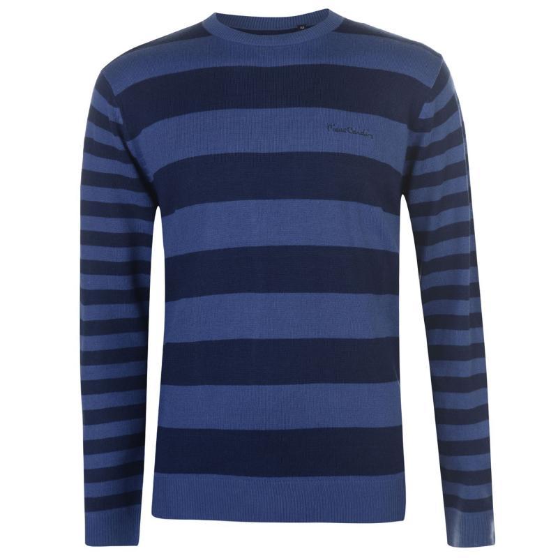Pierre Cardin Striped Crew Knit Mens Navy/Mid Blue