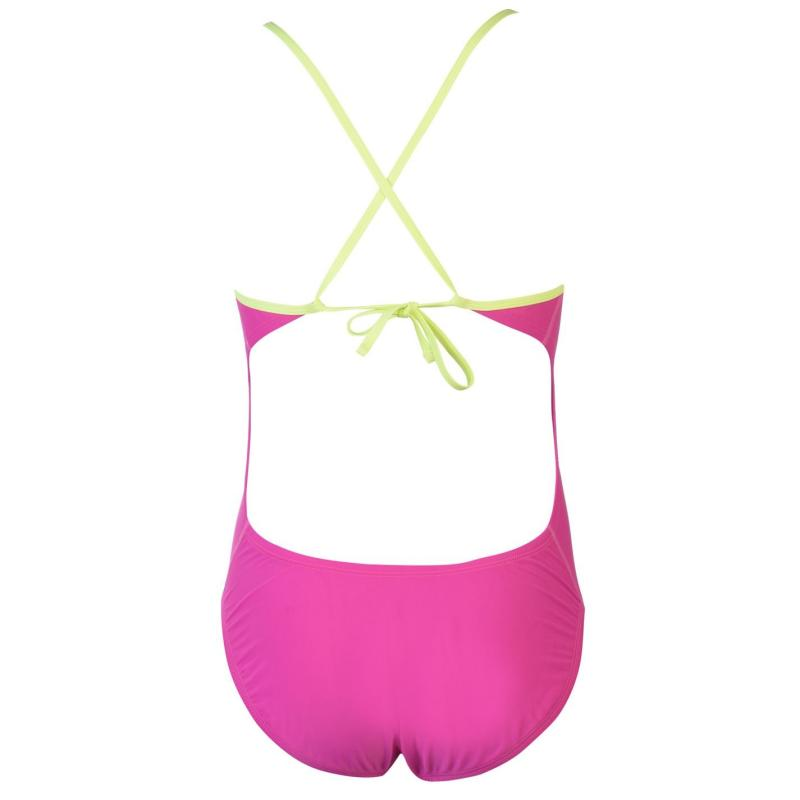 Plavky Nike Solid One Piece Swimsuit Ladies Fuchsia Blast