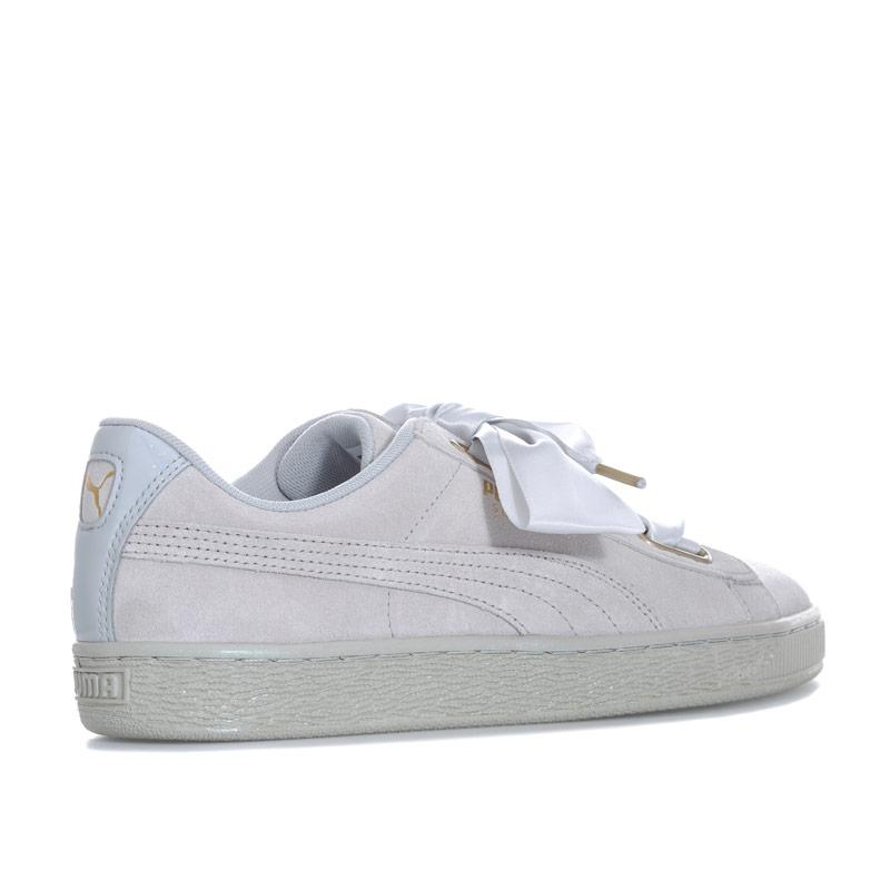 Puma Womens Suede Heart Satin Trainers Grey