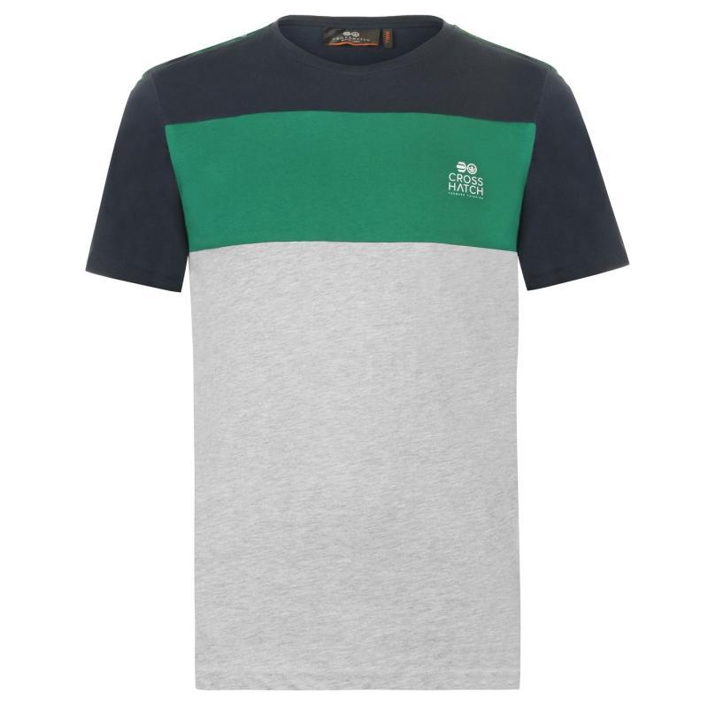 Tričko Crosshatch Block T Shirt Mens Grey Marl
