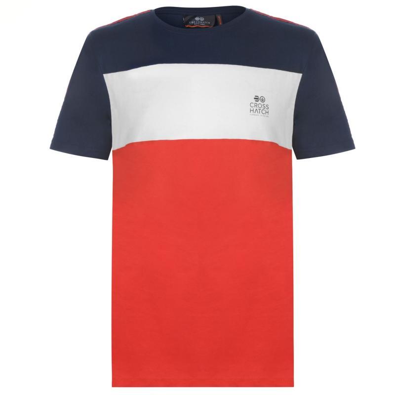 Tričko Crosshatch Block T Shirt Mens Red