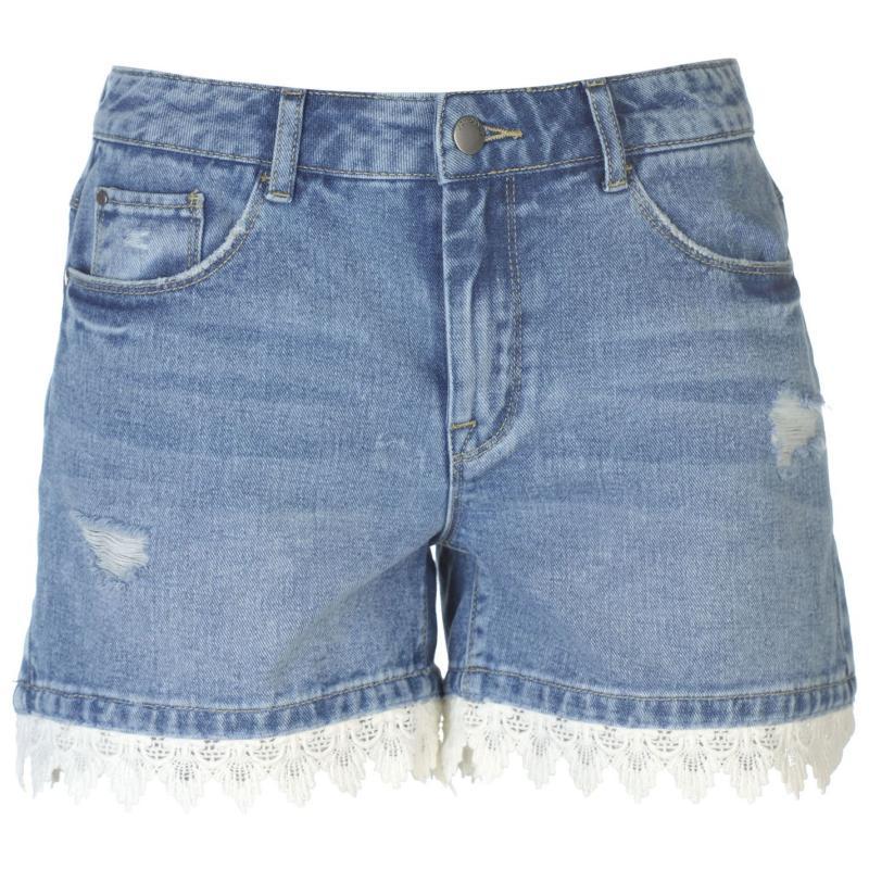 JDY Lace Denim Shorts Med Blue Denim