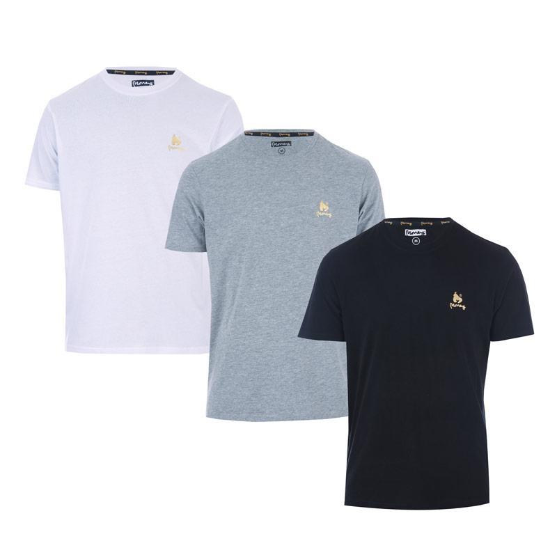 Tričko Money Mens Aurous 3 Pack T-Shirt Black Grey White