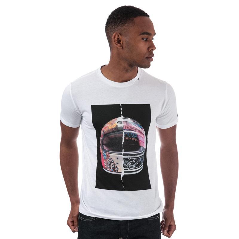Tričko Replay Mens T-Shirt Split Helmet Print White