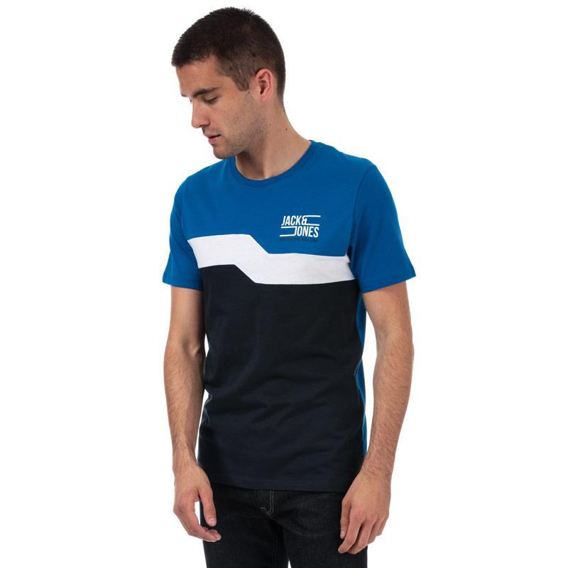 Tričko Jack Jones Mens Mikkell Crew T-Shirt Blue