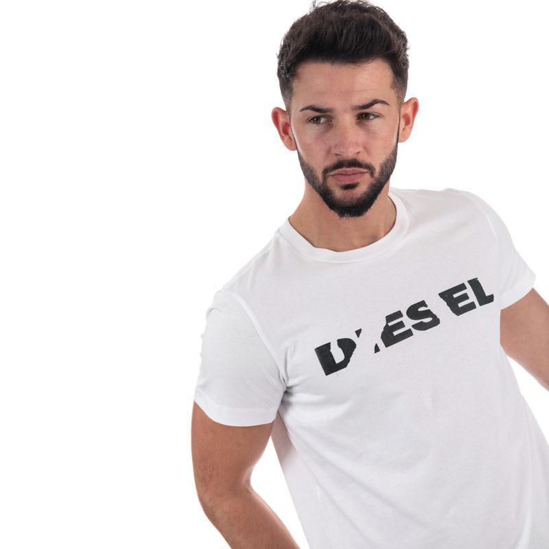 Tričko Diesel Mens T-Diego-Brok T-Shirt White Velikost - XXL