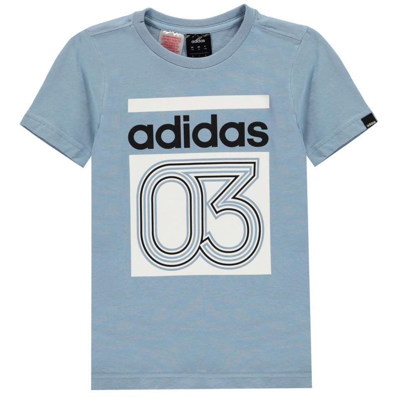 Tričko adidas Boys Line 03 T-Shirt QT AshBlue/Wht/Blk