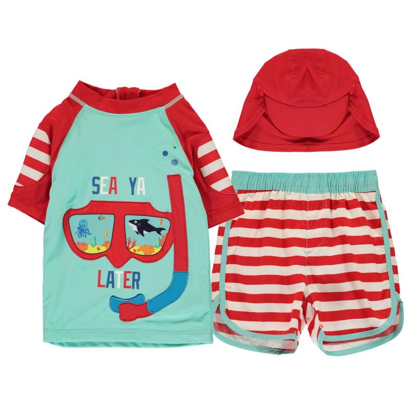 Plavky Crafted Essentials 2 Piece Sun Safe Suit Child Boys 3Pc SeeYa Later