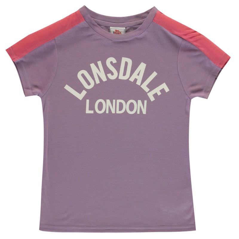 Lonsdale Crew T Shirt Junior Girls Lilac