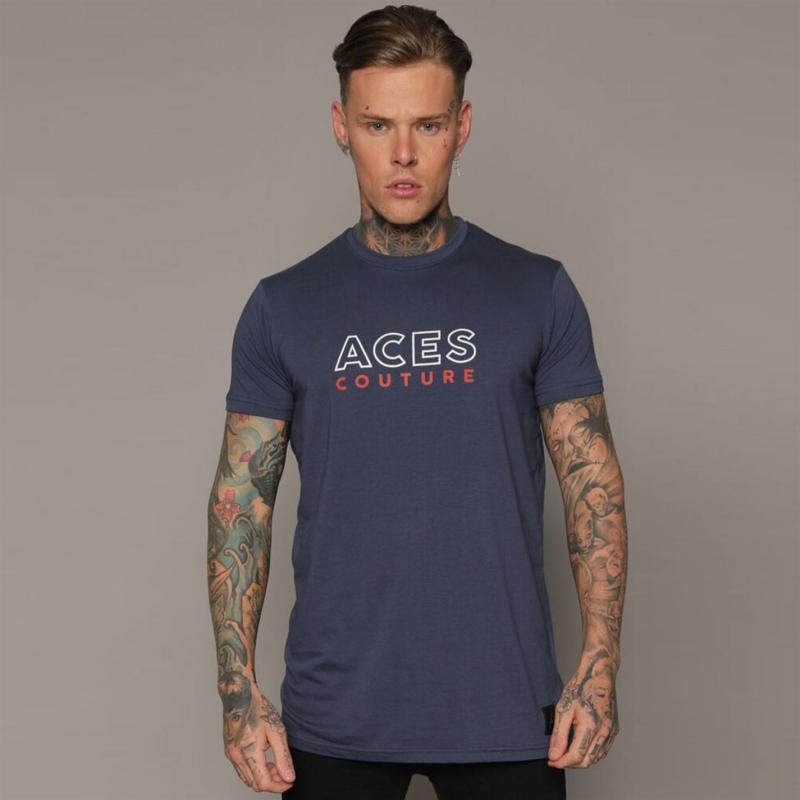 Tričko Aces Couture Core Logo T Shirt Mens Navy