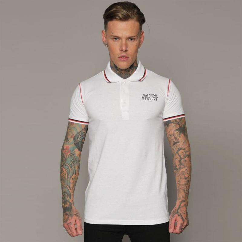 Aces Couture Statement Polo Shirt Mens White