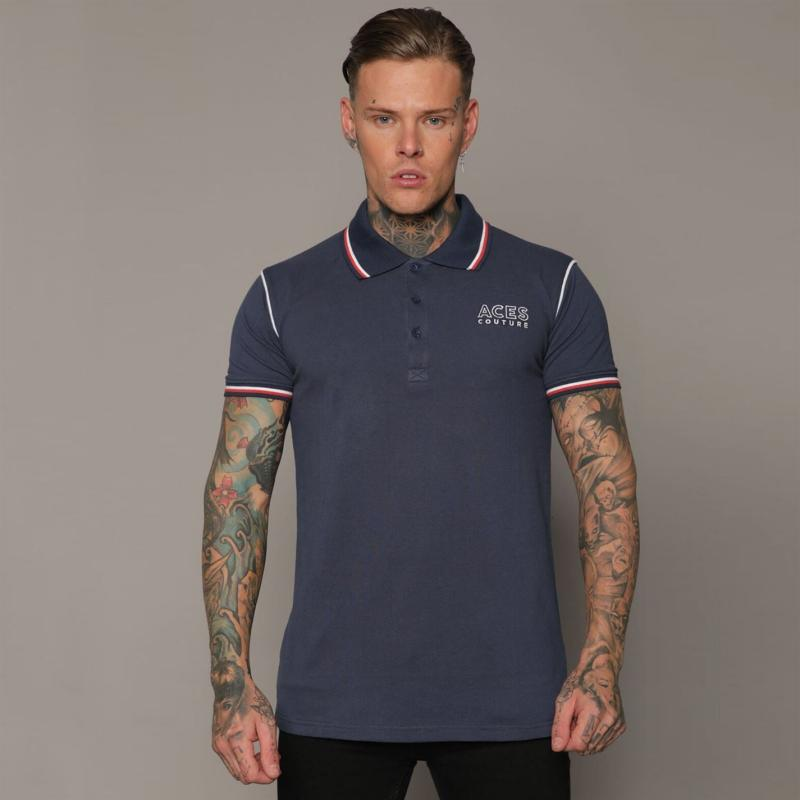 Aces Couture Statement Polo Shirt Mens Navy