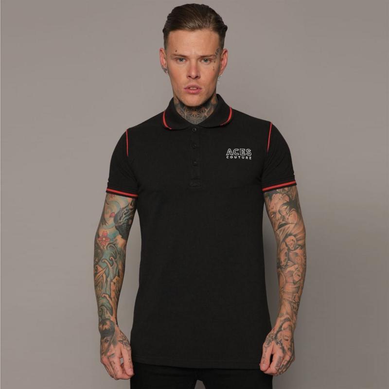 Aces Couture Statement Polo Shirt Mens Black